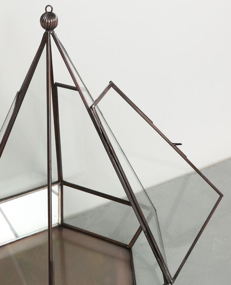 Hexagone en verre et métal bronze