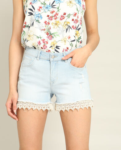 Short en jean dentelle bleu ciel