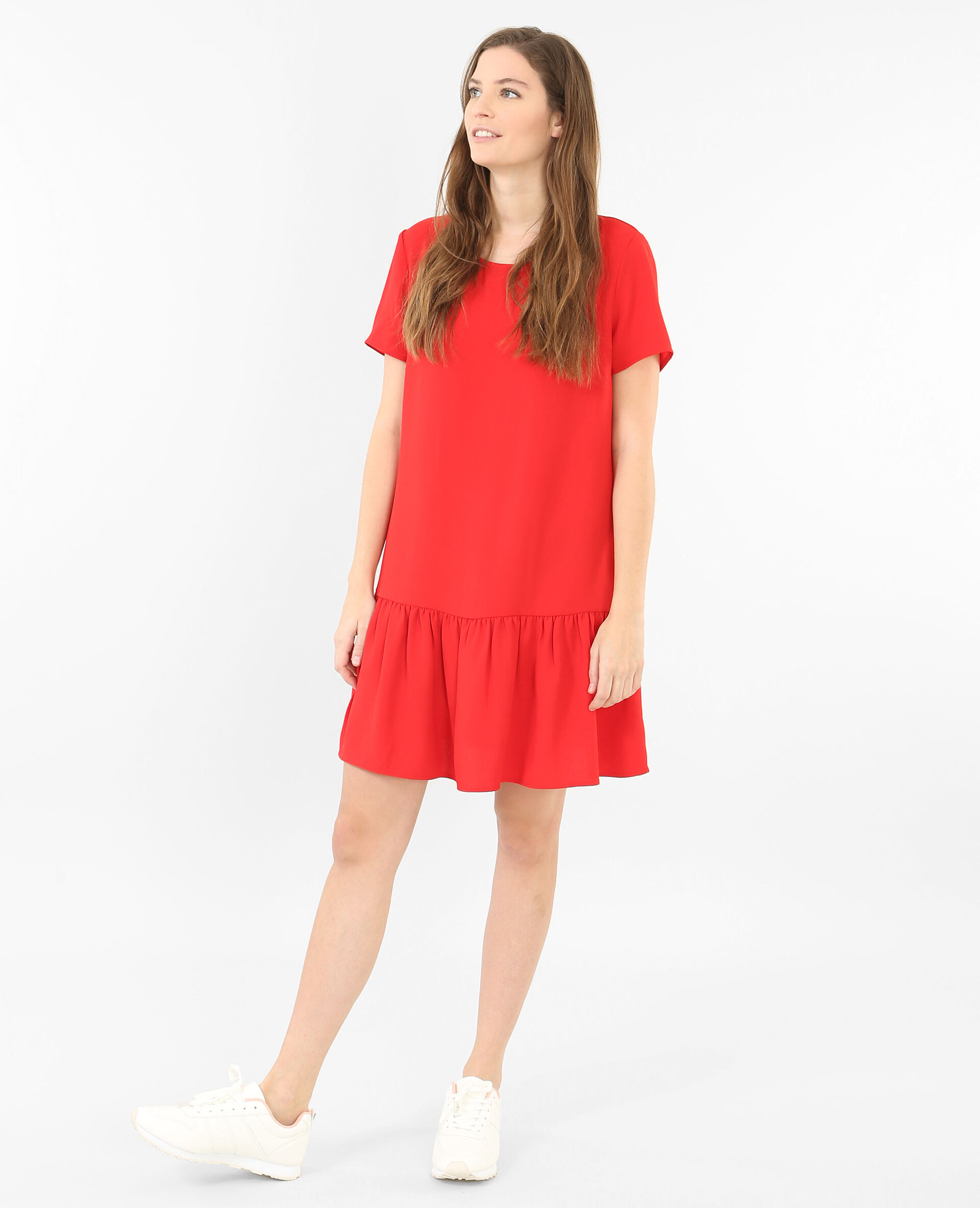 Robe a basque rouge