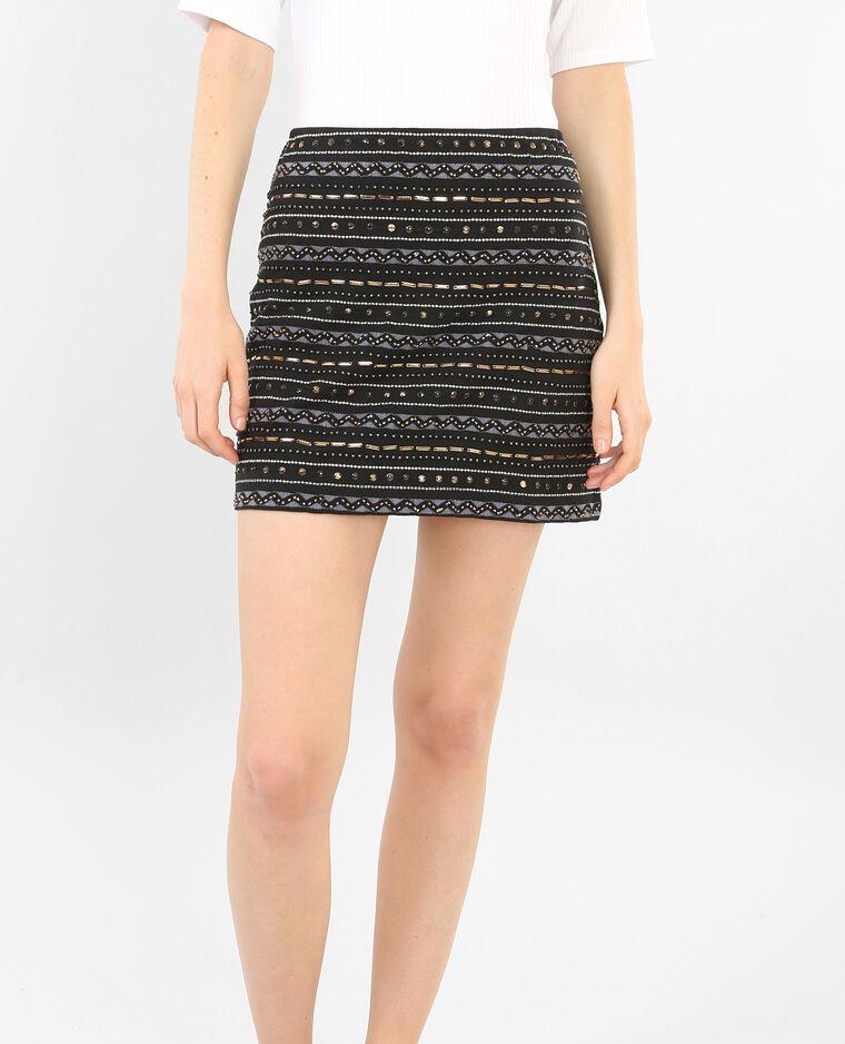 Mini jupe brodée noir