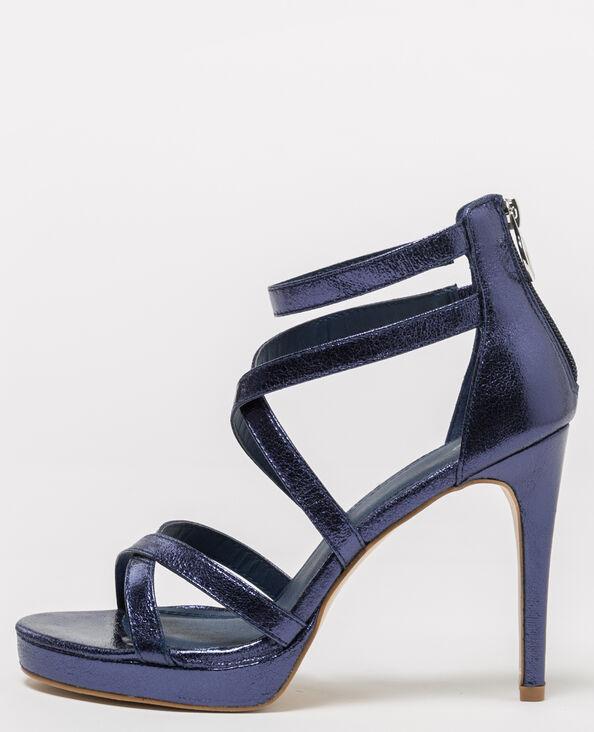 Sandales à brides irisées bleu foncé