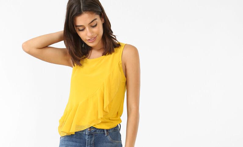 Top à volants jaune