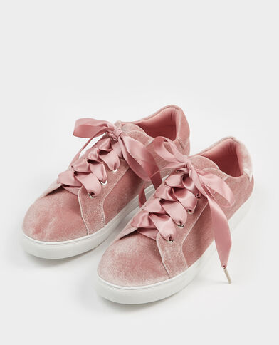 Baskets à lacets satinés rose poudré
