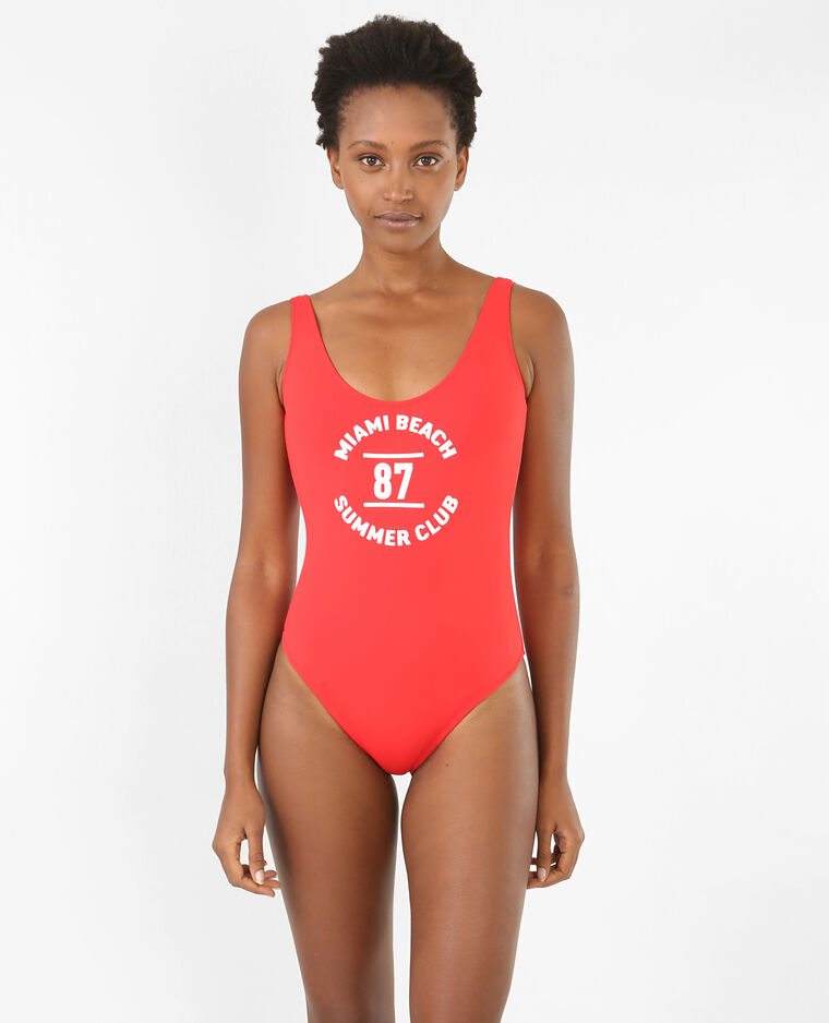 maillot de bain 1 pi ce message rouge 902464342n49 pimkie. Black Bedroom Furniture Sets. Home Design Ideas