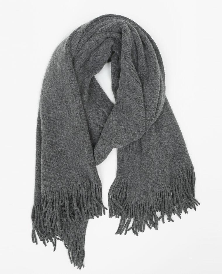 Echarpe chaude frangée gris