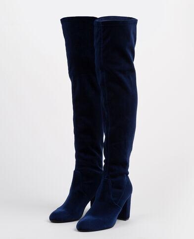 Bottes cuissardes velours bleu
