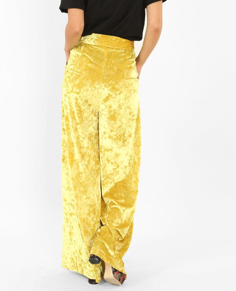 Pantalon flare effet velours jaune moutarde