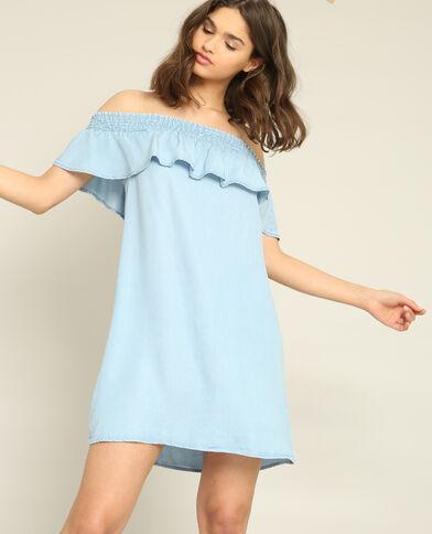 Robe à col bardot bleu clair