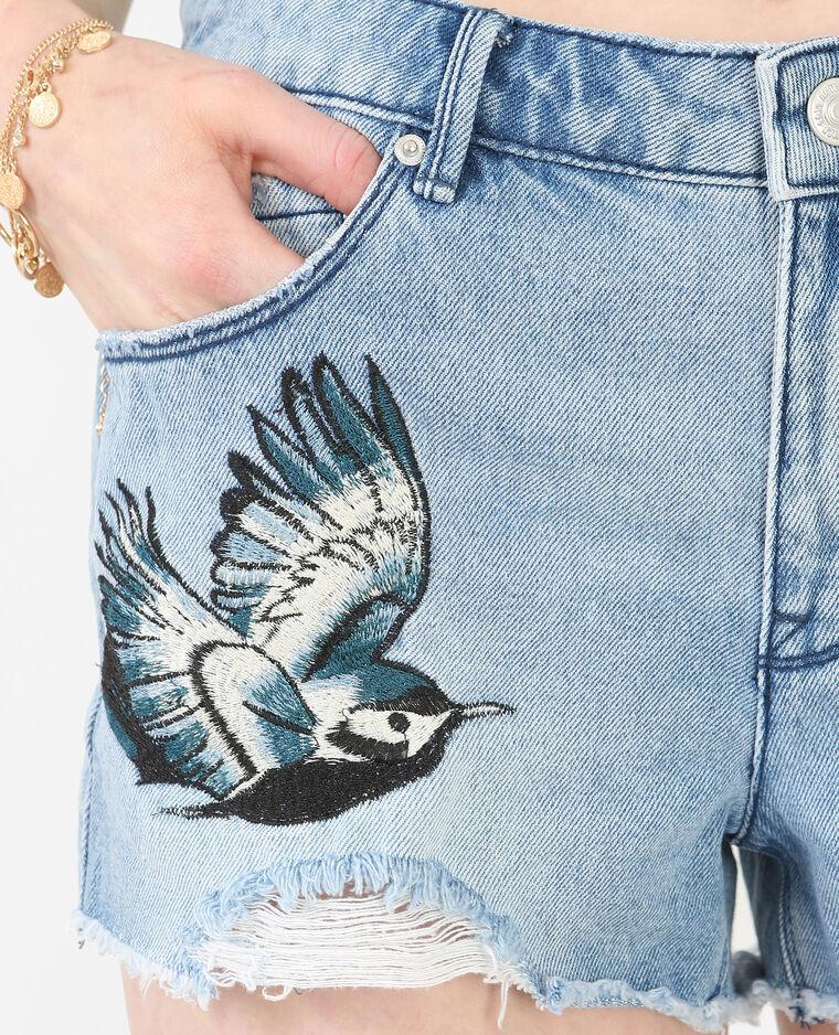 Short en jean destroy brodé bleu denim