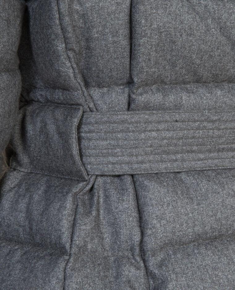 Longue doudoune plume gris chiné