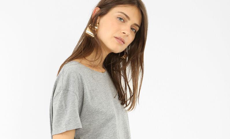 T-shirt oversize manches courtes gris perle