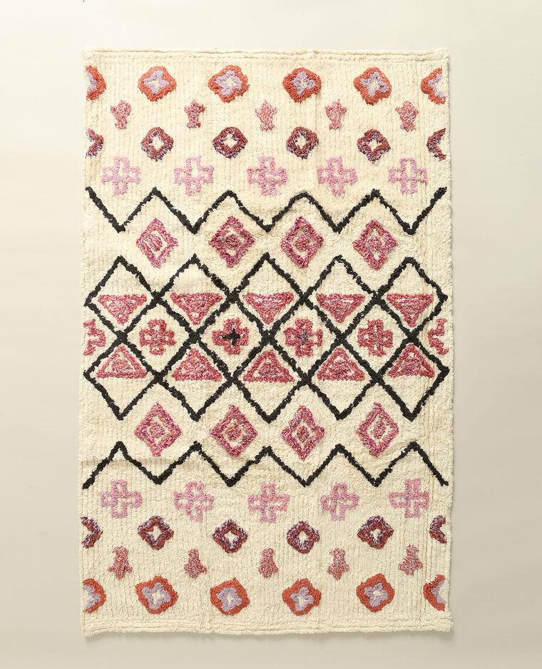 Tapis rectangulaire à motifs écru