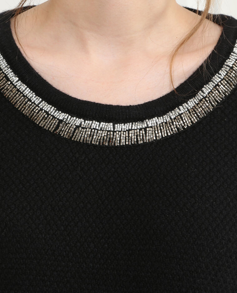 Pull col perles rocaille noir