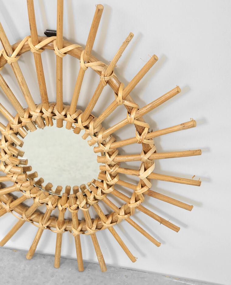 Petit miroir en rotin asym tique beige taupe 30 for Decoration murale rotin