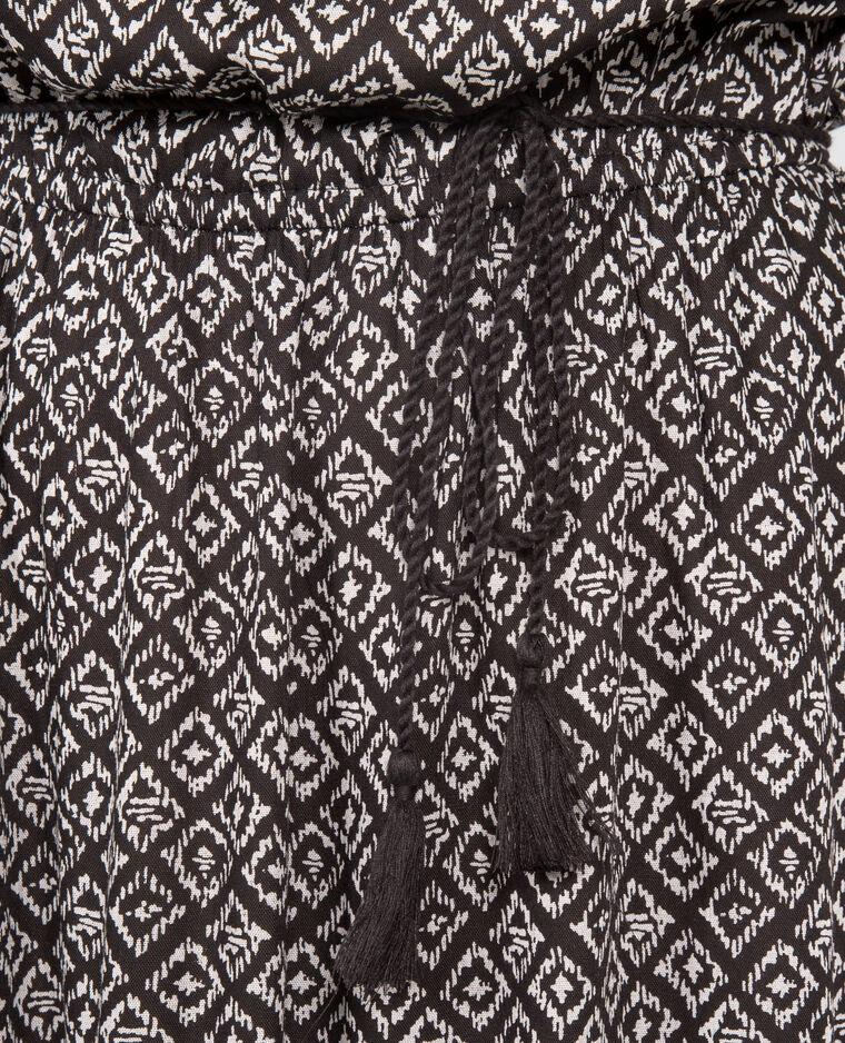 Robe bustier longue imprimée écru