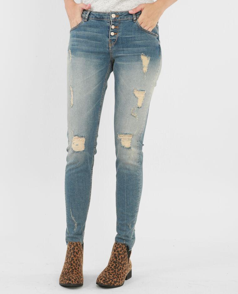 Jeans slim destroy bleu denim