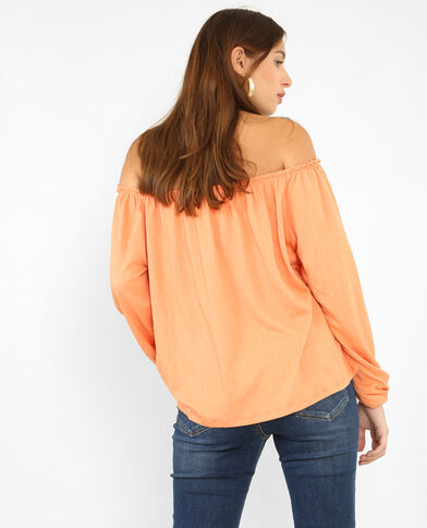 Blouse col bardot orange
