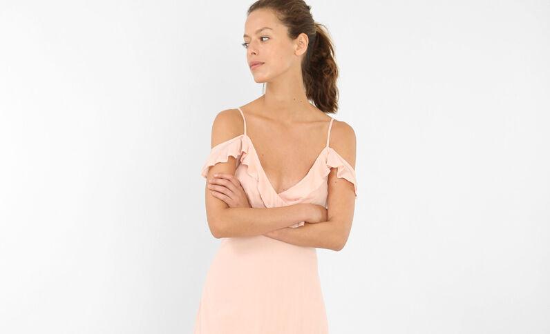Robe longue manches peekaboo rose