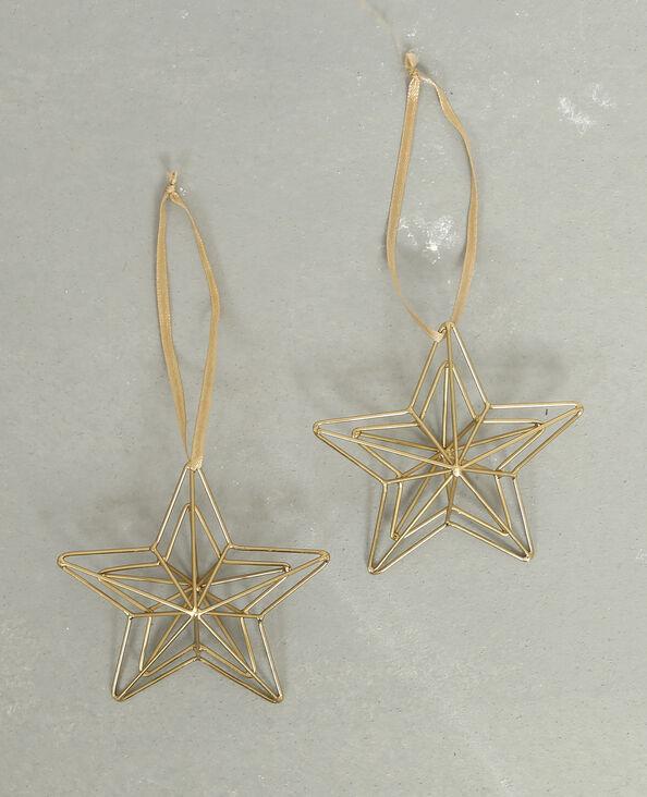Lot de 2 étoiles à suspendre doré