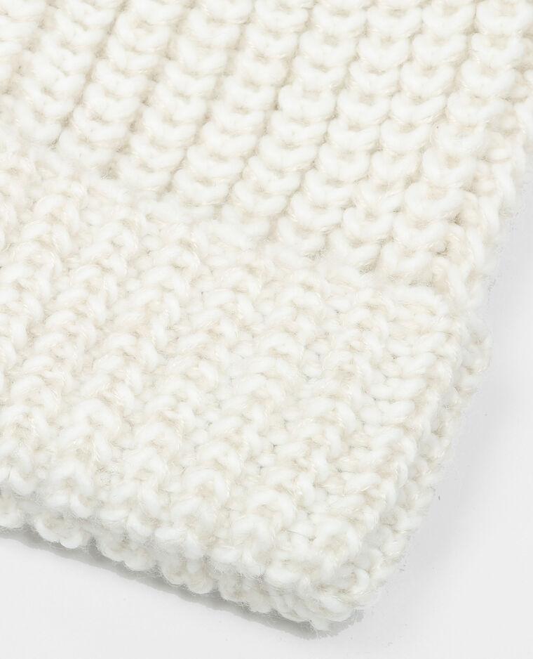 Bonnet à pompons blanc cassé
