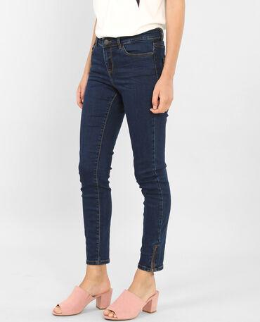 Skinny zippé bleu