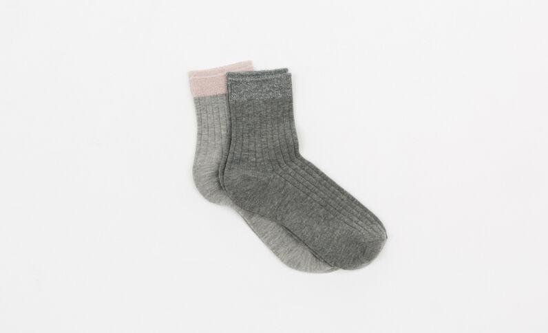 Lot de 2 paires de chaussettes gris