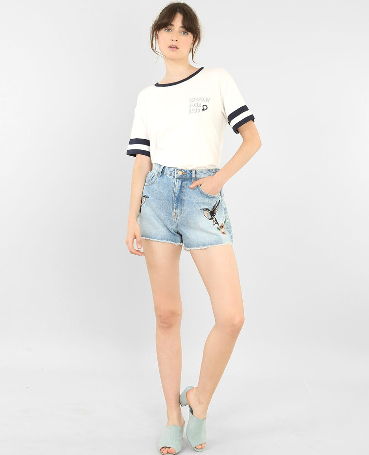 Short en jean imprimé toucans bleu denim