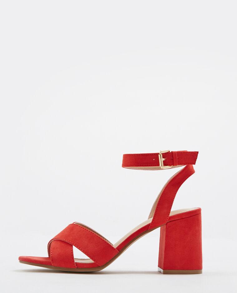 Sandales à talons carrés rouge