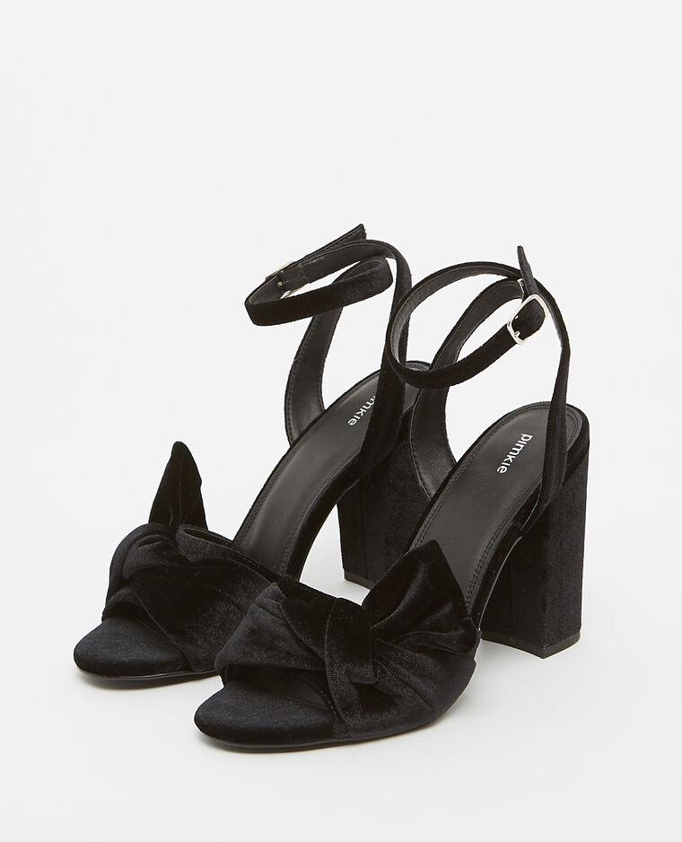 Sandales effet velours noir