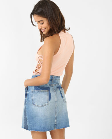 Cropped top sans manches rose