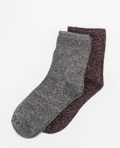Lot de 2 paires de chaussettes lurex gris
