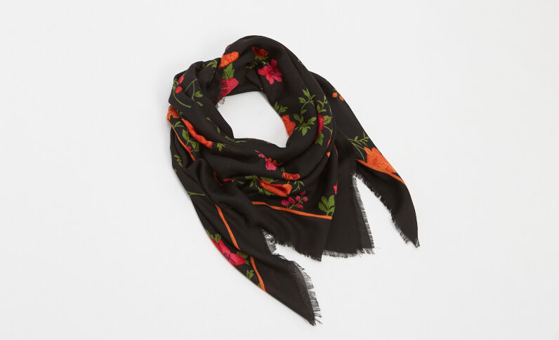 Foulard imprimé fleuri noir