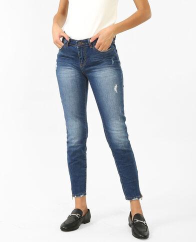 Skinny zippé bleu denim