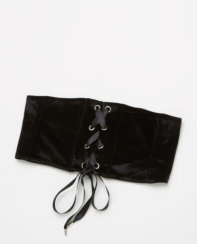 Ceinture corset effet velours noir
