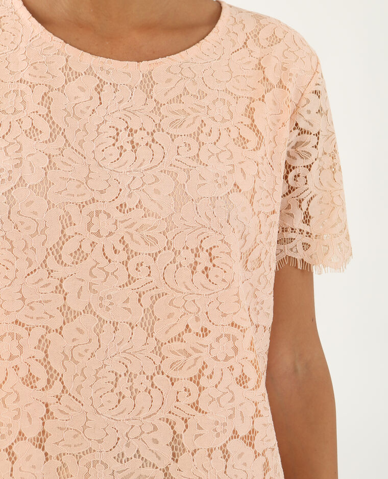 T-shirt en dentelle rose