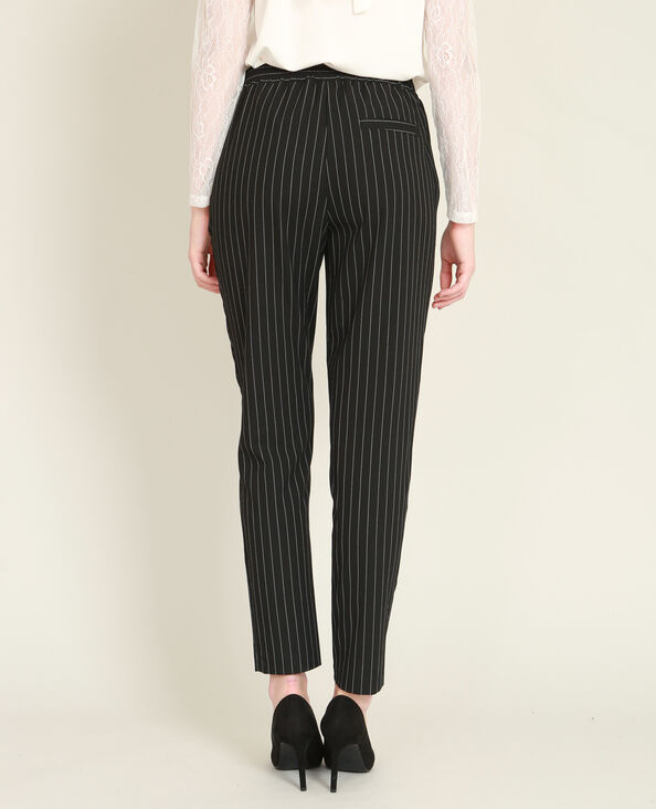 Pantalon fluide à rayures noir
