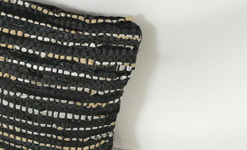 Housse de coussin en chutes de cuir noir