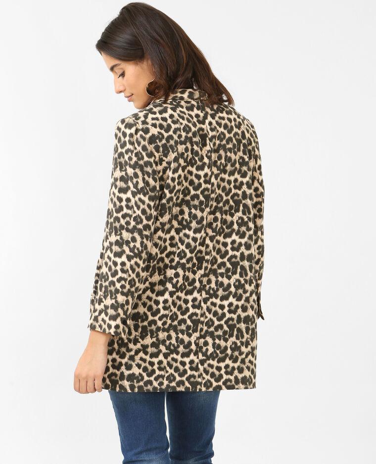 Blazer en crêpe léopard noir