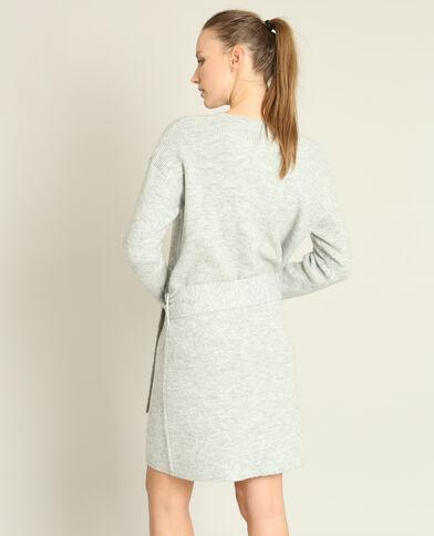 Robe pull ceinturée gris chiné