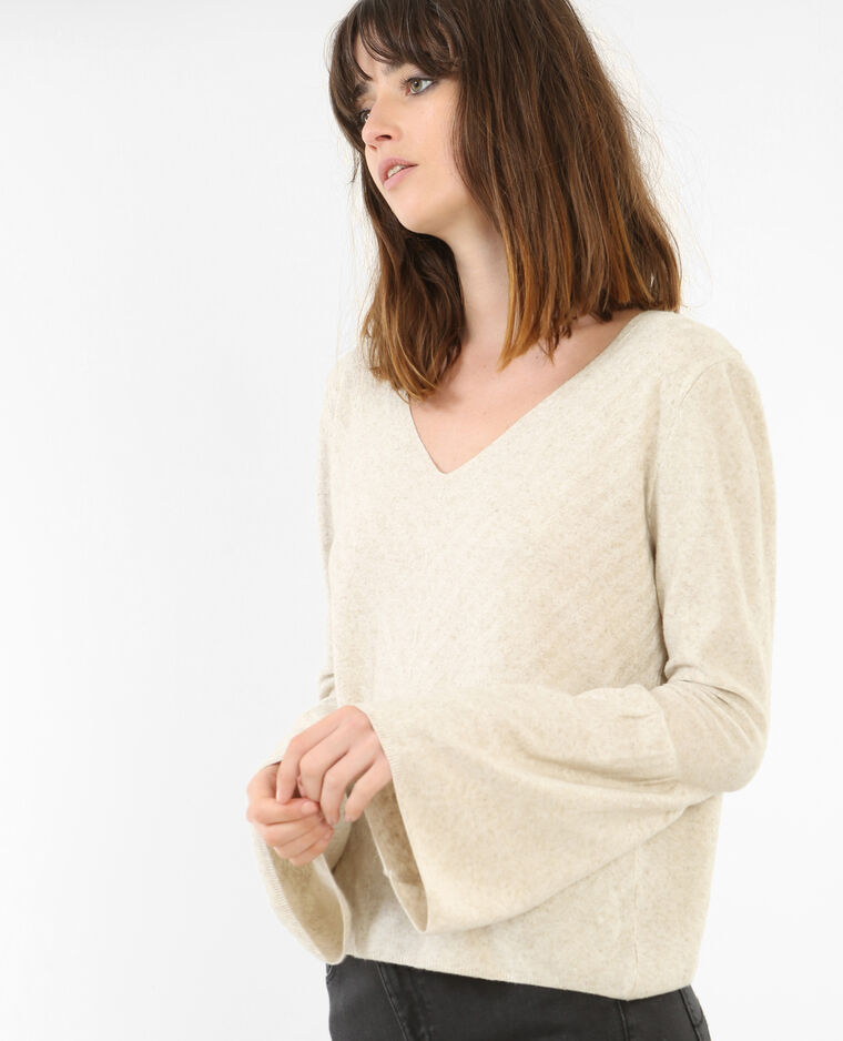 Pull manches pagode Beige