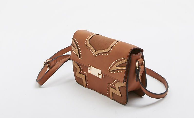 Sac bandoulière style western marron