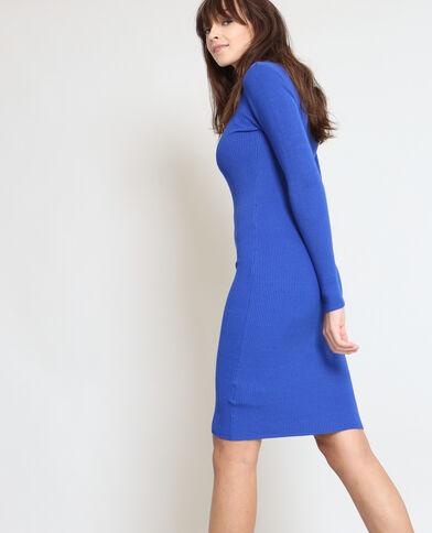 Robe pull moulante bleu électrique