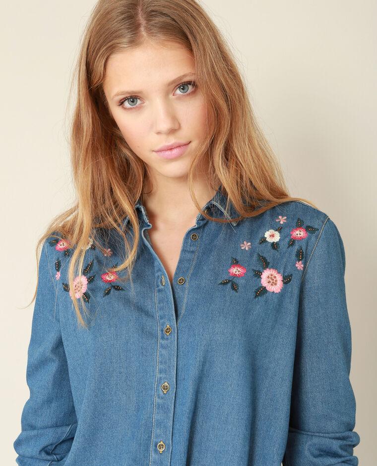 Chemise à broderies bleu denim