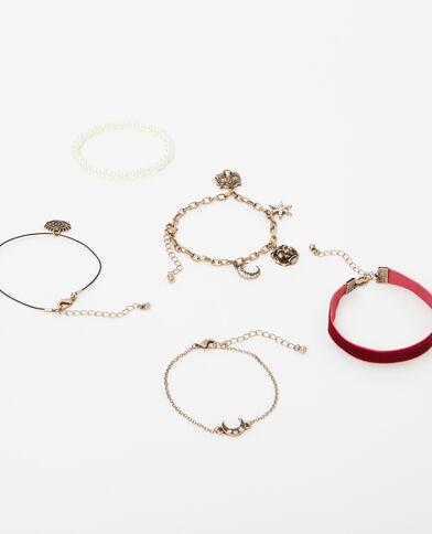 Lot de 5 bracelets fantaisie doré