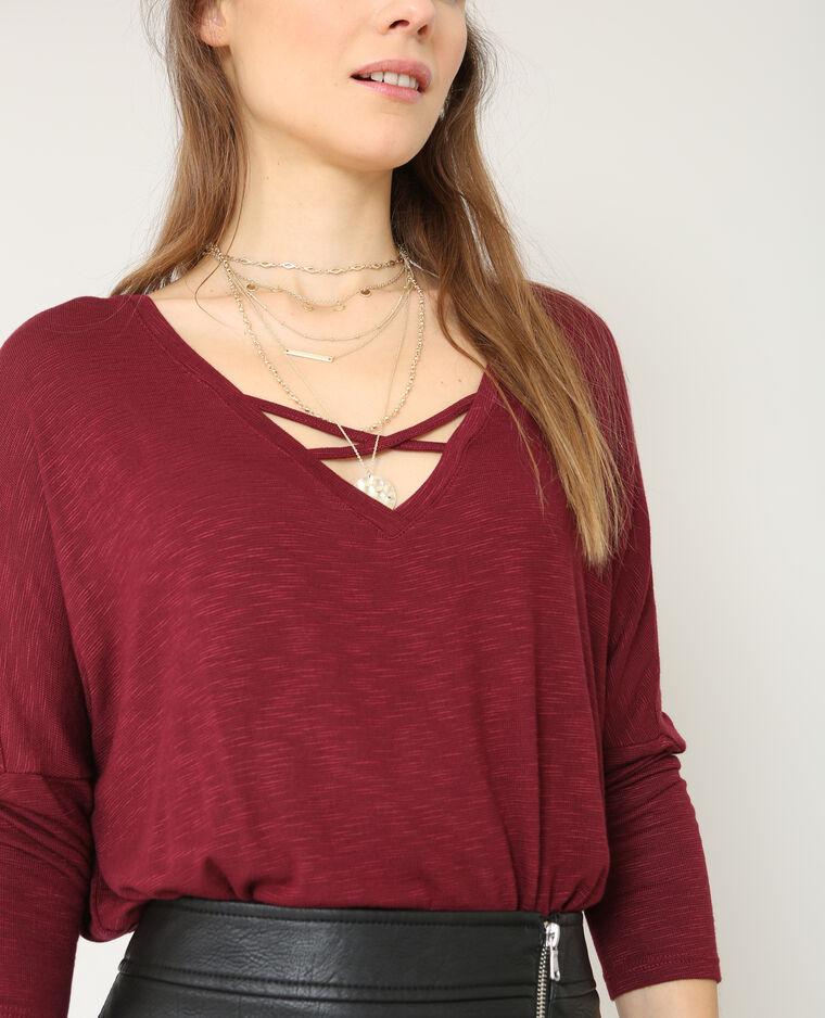 T-shirt à col croisé bordeaux