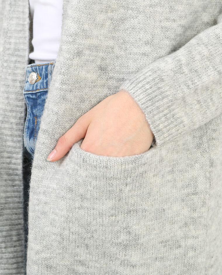 Long gilet gris chiné