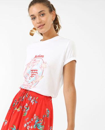 T-shirt à imprimés asiatiques écru