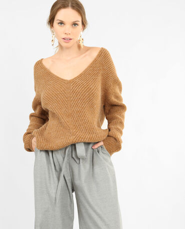 Pull en maille chaude camel