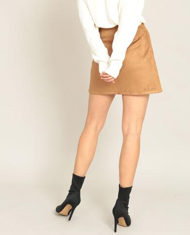 Mini jupe suédine caramel