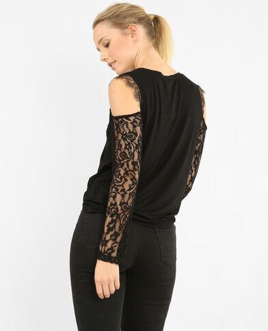 T-shirt manches peekaboo noir